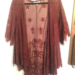 Burgundy lace cardigan!